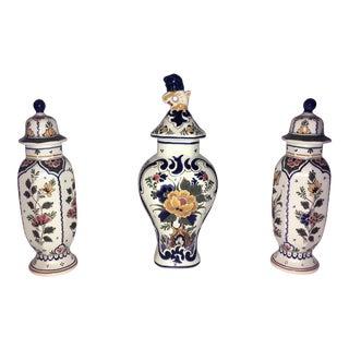 Delft Polychrome Garniture Vases - Set of 3