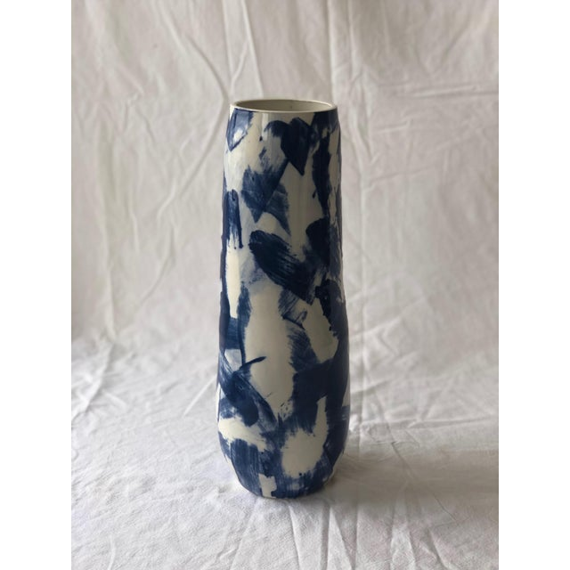 Abstract Expressionism Tall Cobalt Criss Cross Slip Vase For Sale - Image 3 of 6
