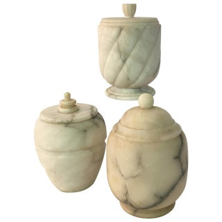 Three 1950s Carved Carrara Marble Canisters For Sale
