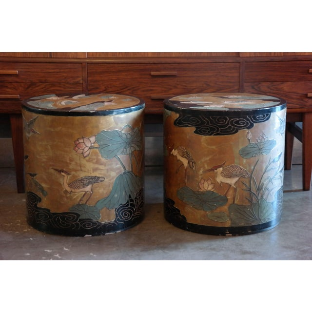 Asian Hand Painted Side Tables - A Pair - Image 4 of 6