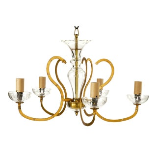 Vintage Five Arm Brass and Glass Chandelier Frame For Sale