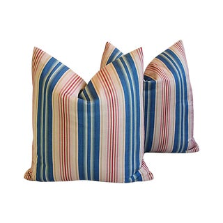 "Blue, Pink & Red Striped Feather/Down Pillows 22"" Square - Pair For Sale"