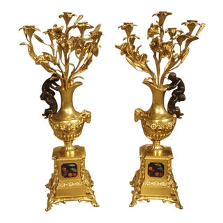 Pair of Antique French Bronze Dore Candelabras, Victor Paillard 1805-1886 For Sale