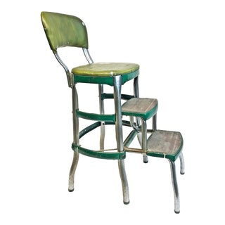 Vintage Shabby Chic Green Metal Step Stool For Sale