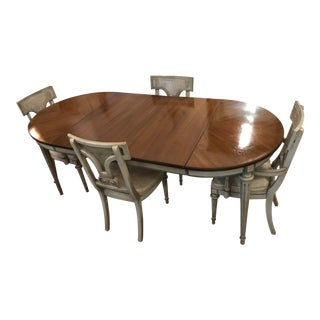 Hollywood Regency Neoclassical Dining Table & Chairs Set For Sale