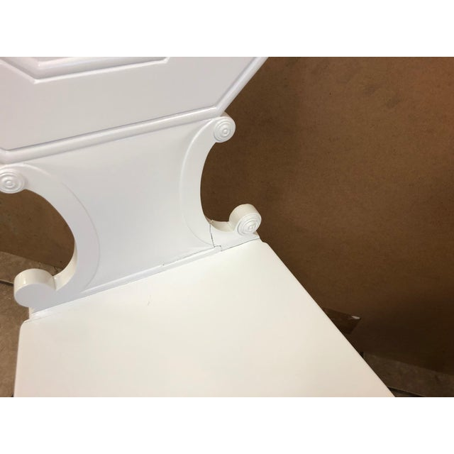 Pair of 19th Century English White Lacquered Hall Chairs For Sale In New York - Image 6 of 9