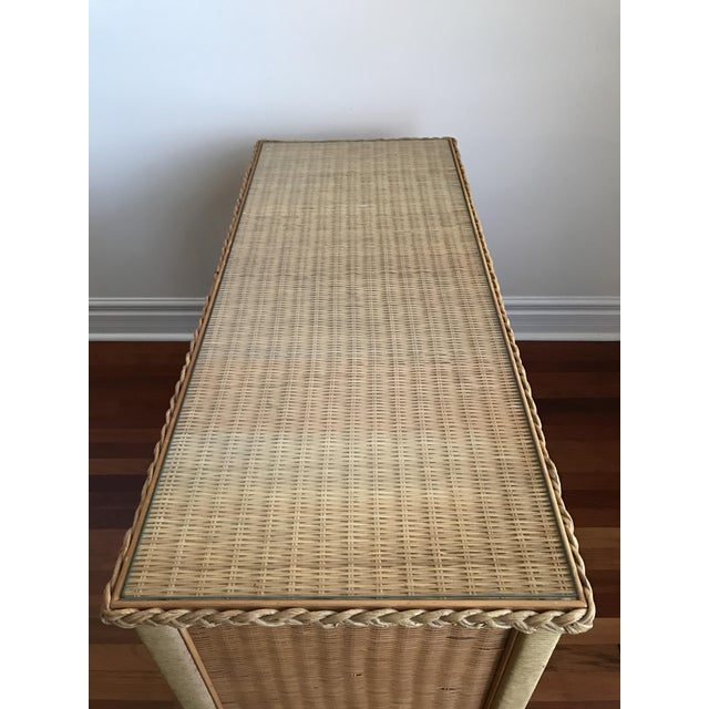 Vintage Henry Link Bohemian Wicker Glass Topped Desk For Sale In Chicago - Image 6 of 11