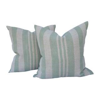 Sage Striped Grain Sack Pillows - Pair