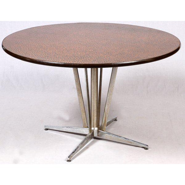 Hand-Hammered Copper Top Round Table, Circa 1950 - Image 3 of 3