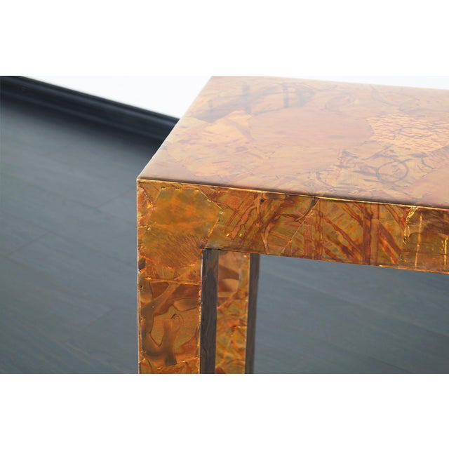 Copper 1970s Brutalist Copper Patchwork Console Table For Sale - Image 8 of 11