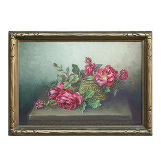 Early 20th Century Red Garden Roses Still Life Oil Painting, Framed For Sale