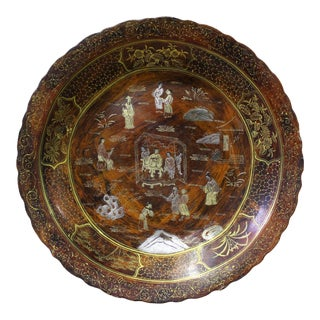 Chinese Hand Painted Golden People Scene Lacquer Display Disc Plate