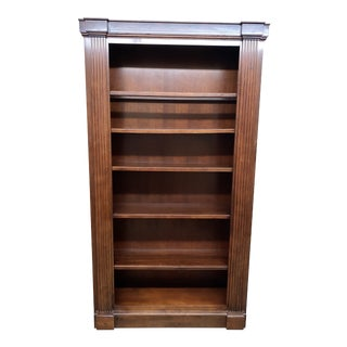 Cherry Wood Bookshelf + Adjustable Shelving + Light For Sale