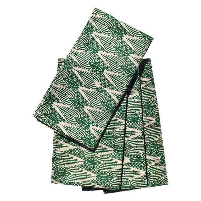 Green African Wax Formal Cloth Dinner Napkins in Green Block Print, Set of 4 For Sale - Image 8 of 8