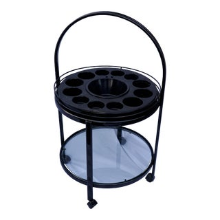 1960s Mid-Century Modern Round Metal Frame Bar Cart on Wheels For Sale