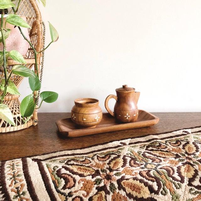 Wood Vintage Indian Wooden Creamer and Sugar Set - Set of 3 For Sale - Image 7 of 7