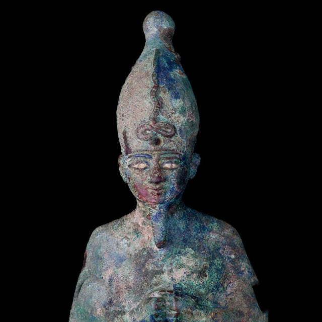 Egyptian Revival Egyptian Bronze Figure of Osiris, Late Dynastic Period For Sale - Image 3 of 4