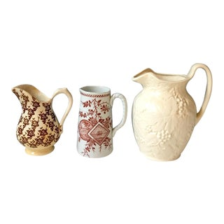 20th Century Americana Brown and White Pitcher Collection - 3 Pieces