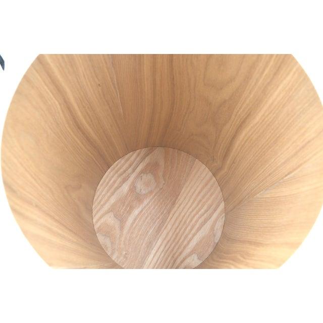 Japanese Bamboo Wood Waste paper Basket Bin With Lid Circular - Image 4 of 6
