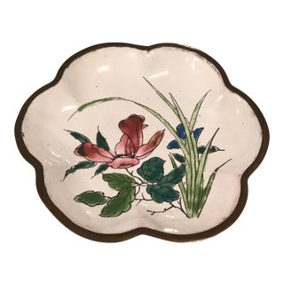 Small Floral Chinese Enamel Tray For Sale