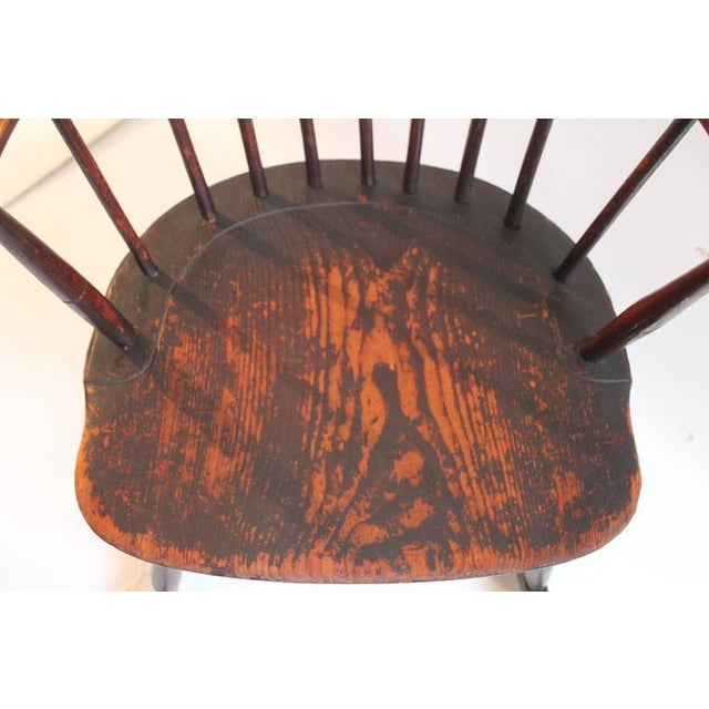Rare 18th Century Low Back Original Red Painted Windsor Rocking Chair For Sale - Image 9 of 10