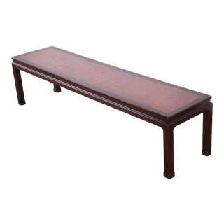1940s Edward Wormley for Dunbar Mid-Century Modern Chinoiserie Mahogany and Cork Coffee Table For Sale