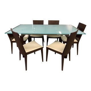 Caligaris Butterfly Wenge Extension Table + Six Leather Chairs For Sale