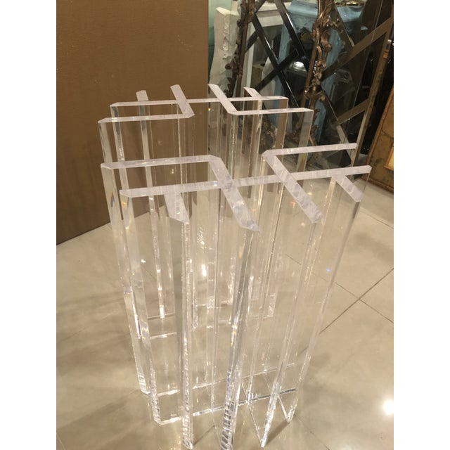 1970s Vintage Hollywood Regency Radiator Lucite Dining Table Desk Bases -A Pair For Sale - Image 5 of 12