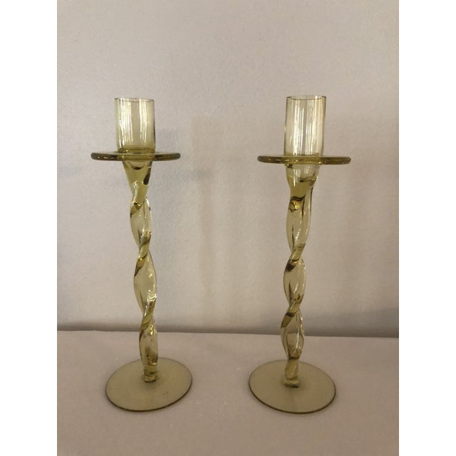 Vintage Hand Blown Amber Glass Candlesticks - a Pair For Sale In New Orleans - Image 6 of 6