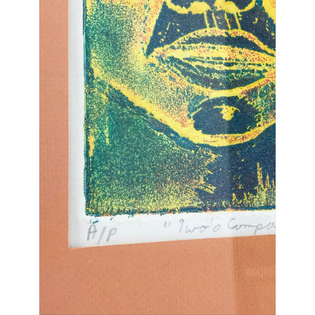 Abstract Expressionism Vintage 1974 Framed A/P Relief Print Portrait by Ed Goldstein For Sale - Image 3 of 12