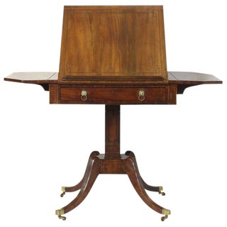 English Regency Articulated Top Library Table