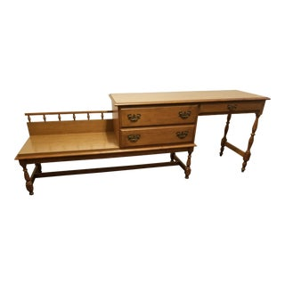 1966 Traditional Heywood Wakefield Cinnamon Old Colony Desk For Sale