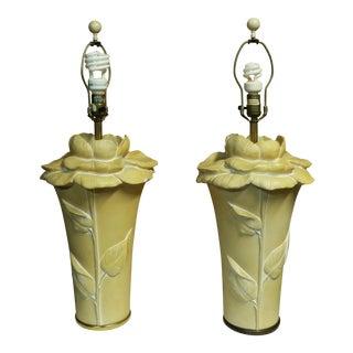 """Vintage Chapman Sculptural """"Rose Figure"""" Table Lamps - a Pair For Sale"""