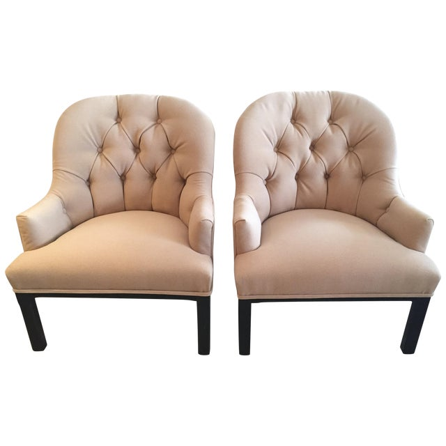 Classic Pair of Camel Hair Mid-Century Modern Dunbar Style Club Lounge Chairs For Sale