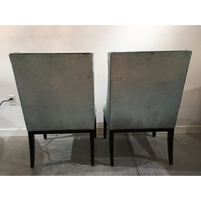 Designmaster Furniture Velvet Designmaster Furniture Franklin Host Wing Chairs - a Pair For Sale - Image 4 of 11