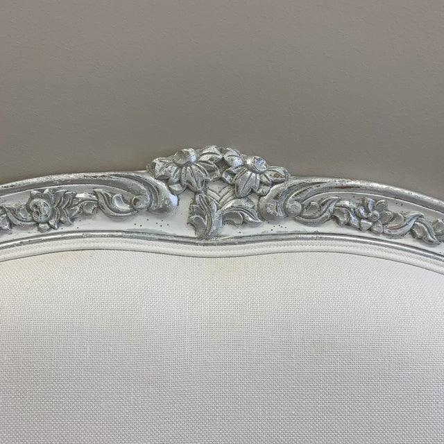 Shabby Chic Carved French Style Headboard For Sale - Image 3 of 9