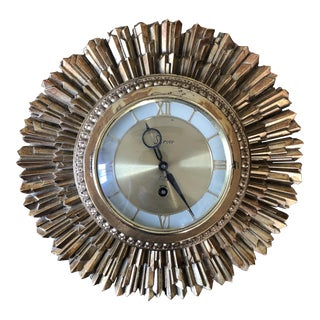 Mid Century Syroco Sunburst Wall Clock For Sale