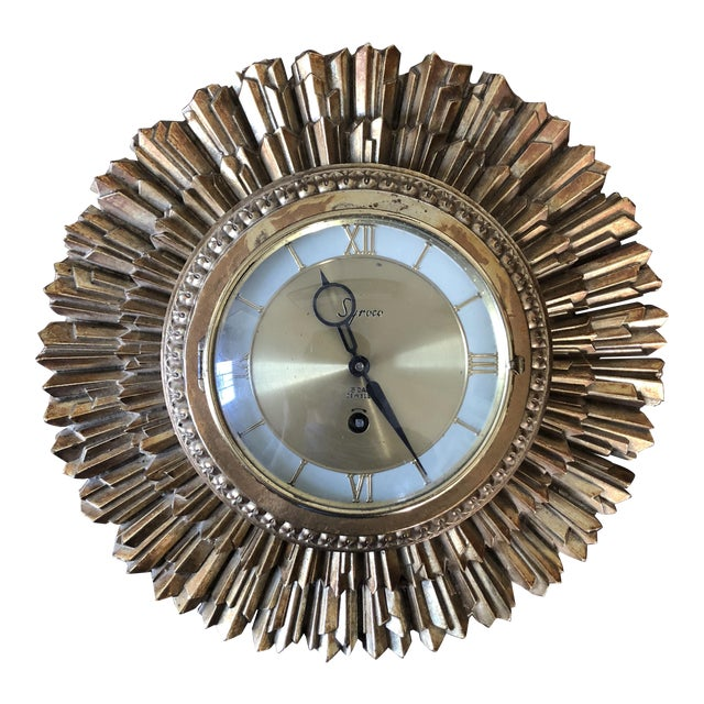 Mid Century Syroco Sunburst Wall Clock For Sale