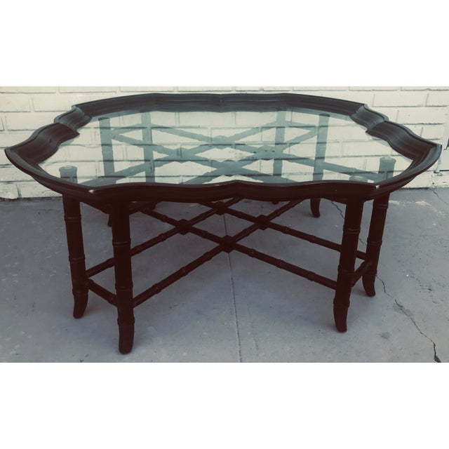 1960s 1960s Traditional Baker Style Faux Bamboo Coffee Table With Detachable Glass Tray Top For Sale - Image 5 of 10