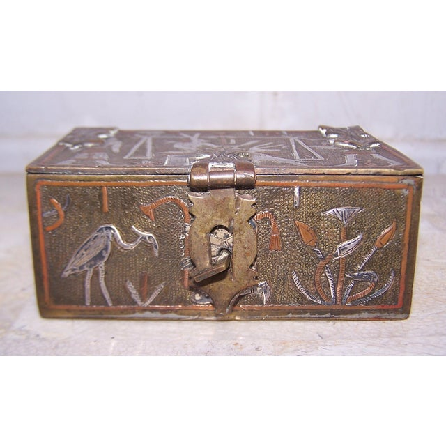 Boho Chic Vintage Mixed Metal Egyptian Motif Cigarette Box For Sale - Image 3 of 9
