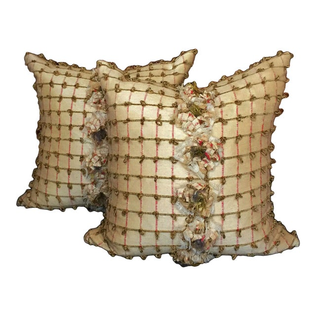 Pale Yellow Silk Pillows - a Pair - Image 1 of 5