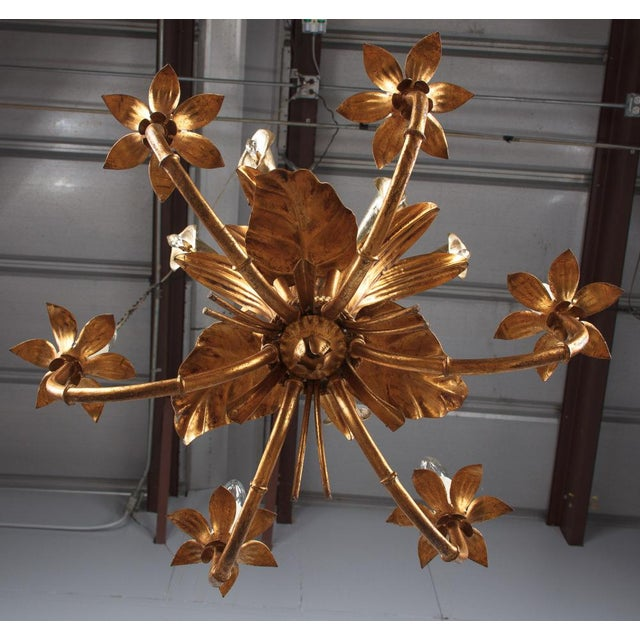 1950s French Gilded Metal Chandelier For Sale - Image 12 of 13