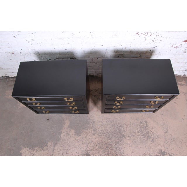 Henredon Mid-Century Hollywood Regency Ebonized Bachelor Chests or Large Nightstands, Pair For Sale - Image 9 of 13