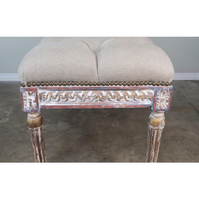 French Louis XVI Style Painted Bench C. 1930 For Sale - Image 9 of 13