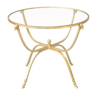Polished Brass Table with Ram's Mask Legs and Hoofed Feet For Sale