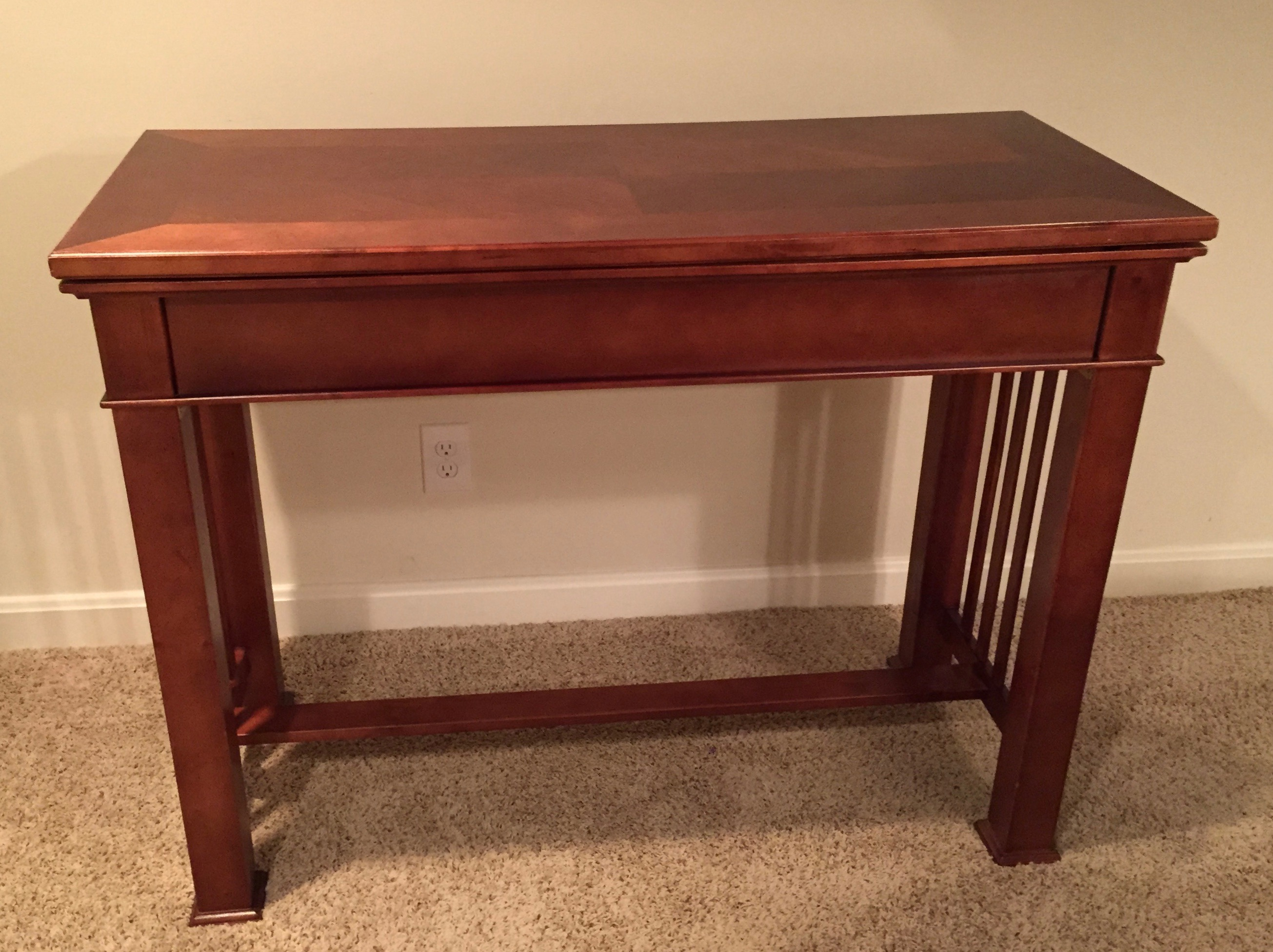 By Day This Tall Table/console Is Practical And Reliable For Most Table  Needs.