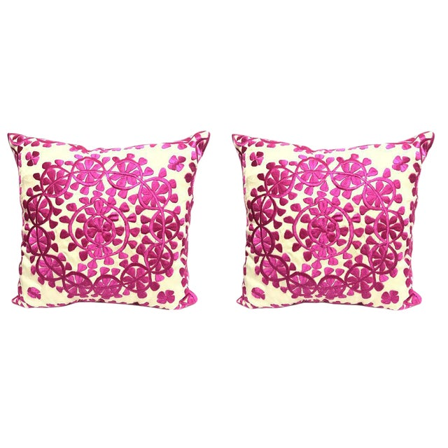 Handmade Moroccan Silk Embroidered Floral Pillow- A Pair For Sale