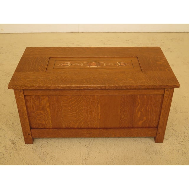 Arts & Crafts Stickley Inlaid Top Oak Blanket Chest For Sale - Image 13 of 13