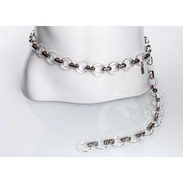 Modern Vintage Yves Saint Laurent Lucite Rings Silver Link Necklace Belt For Sale - Image 3 of 6