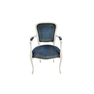 French Vintage Whitewashed Velvet Blue Upholstery Louis XV Armchair For Sale